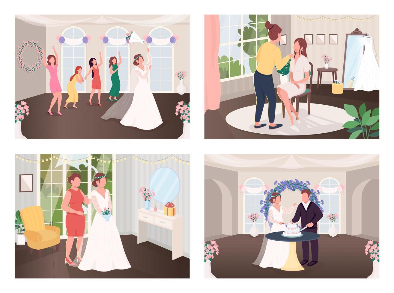 traditions de célébration de mariage vecteur