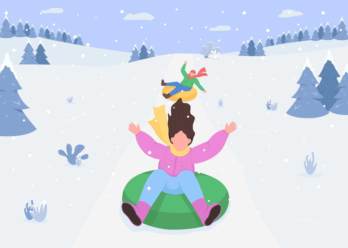 luge sur neige vecteur
