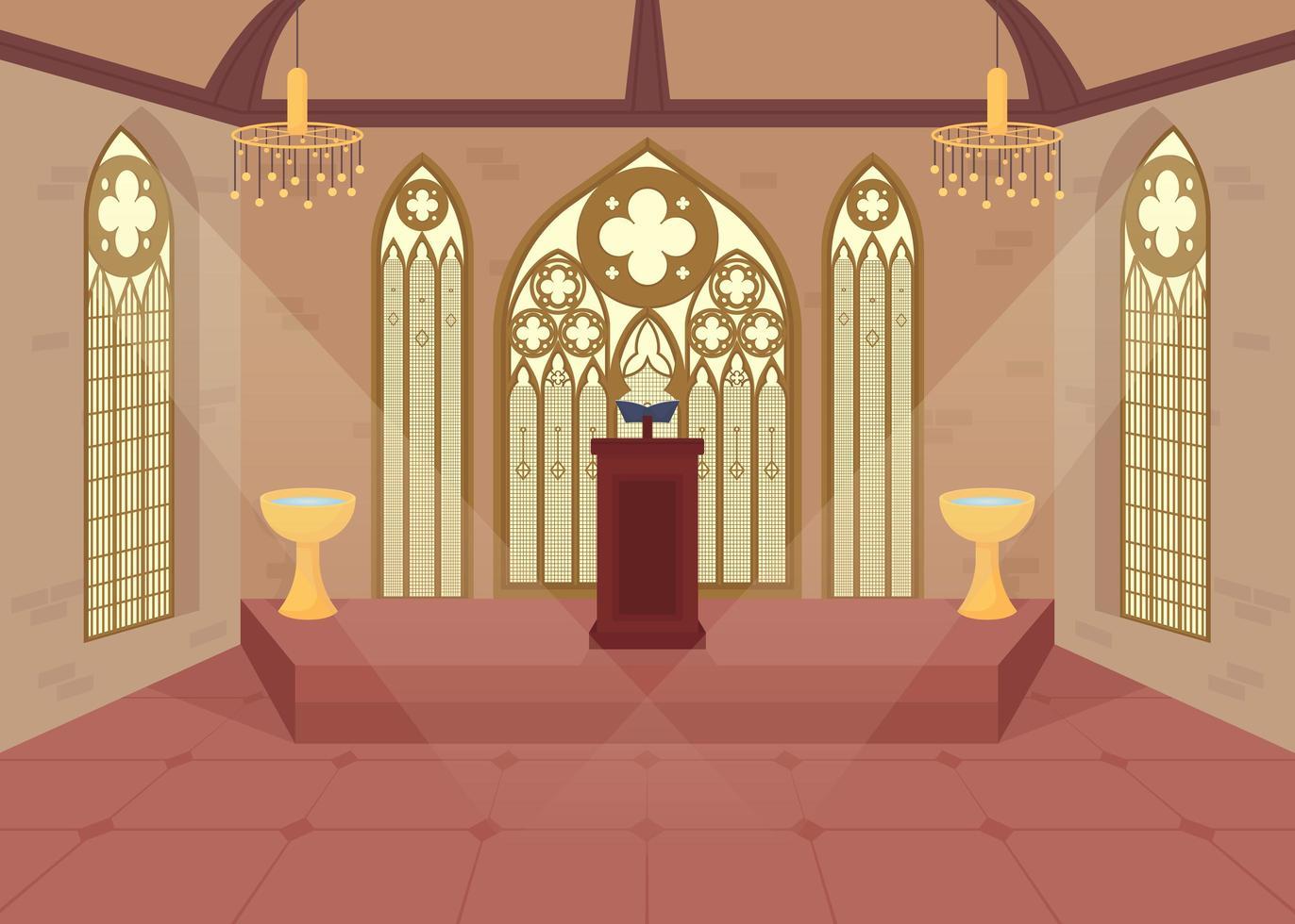 église mise à plat vecteur