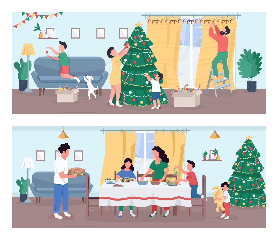 ensemble de fête de Noël vecteur