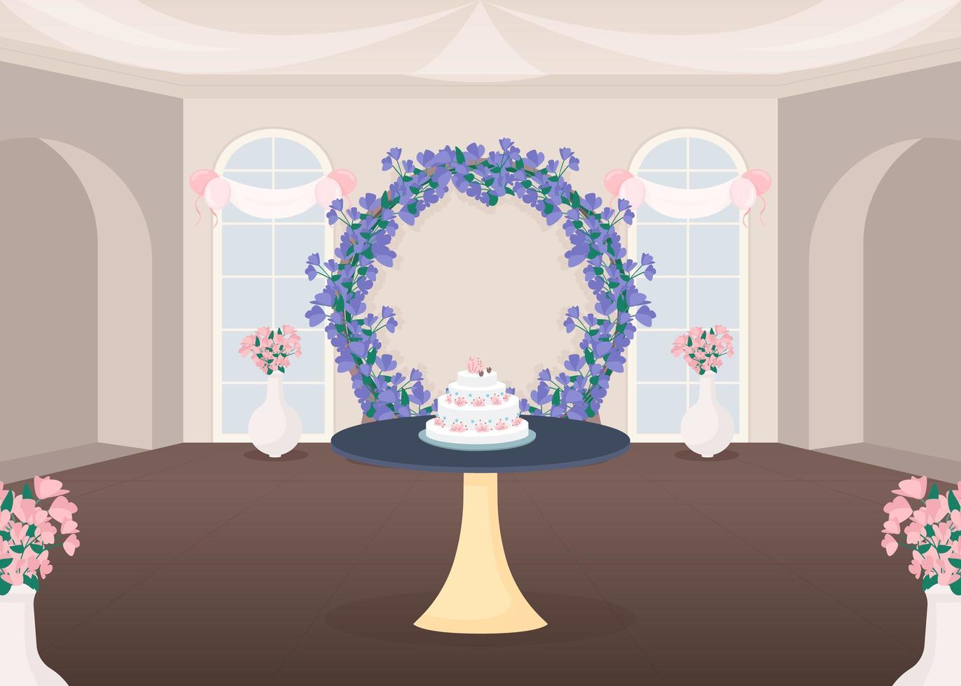salle de banquet et gâteau vecteur