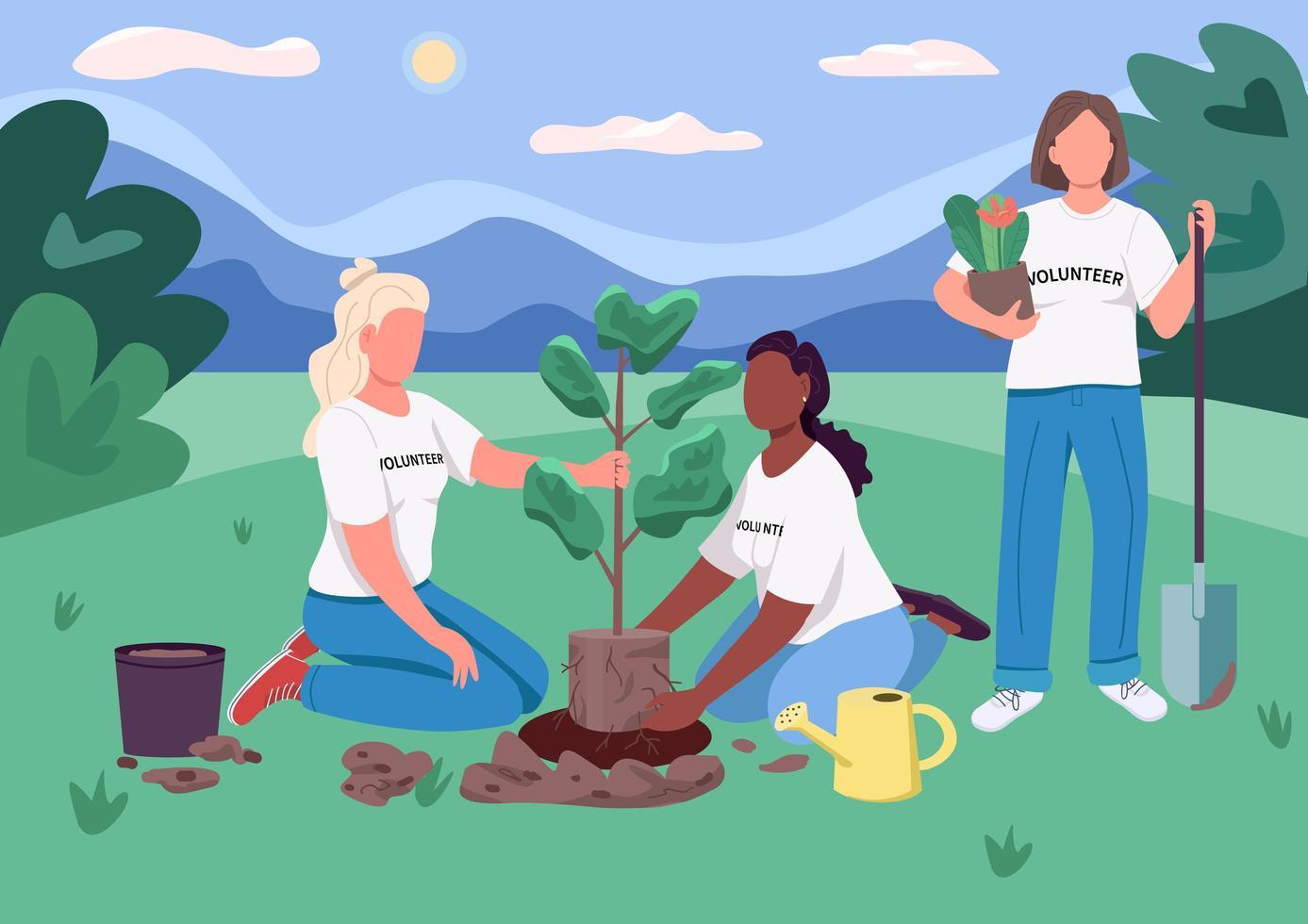 arbre de plantation d'écoféminisme vecteur