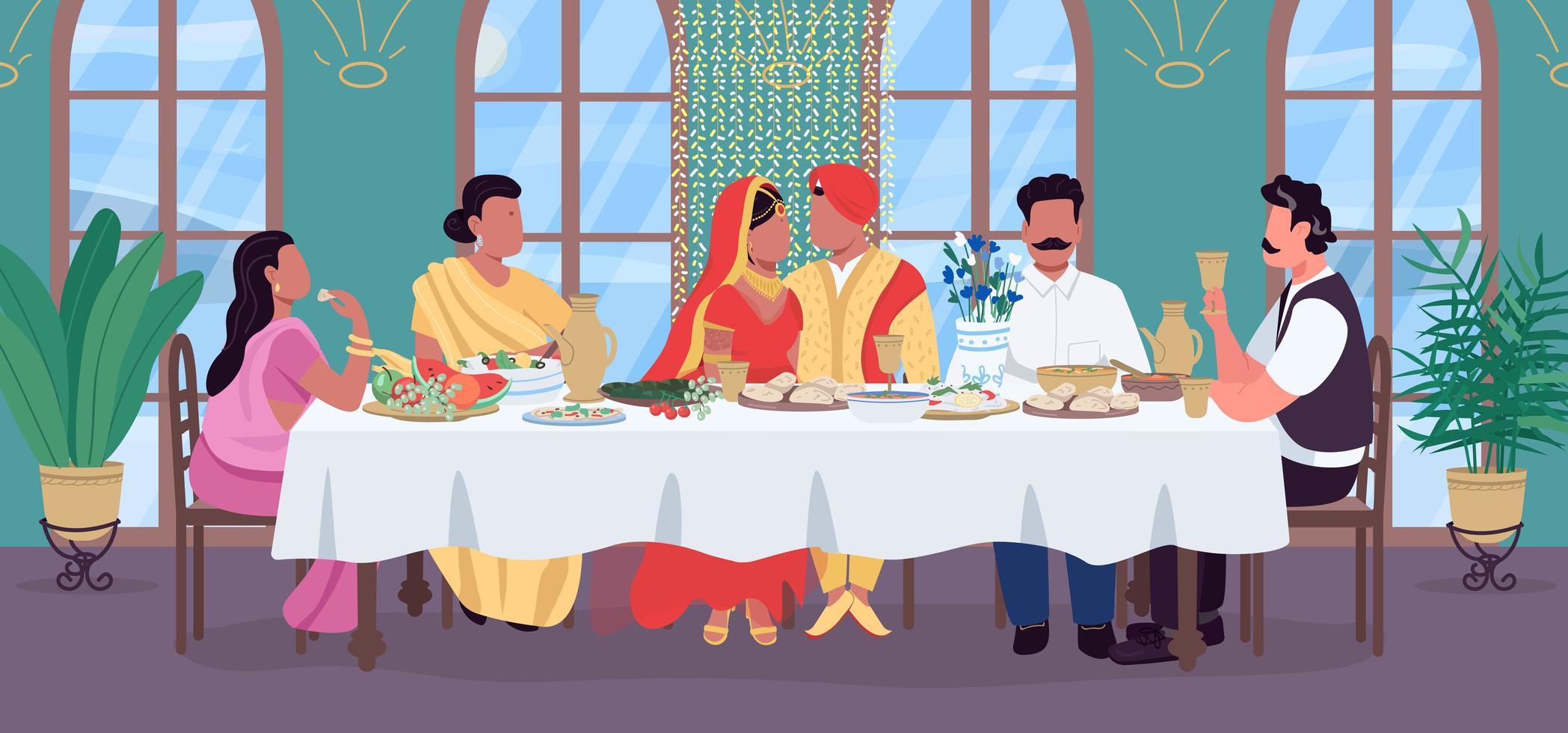 dîner de mariage indien vecteur
