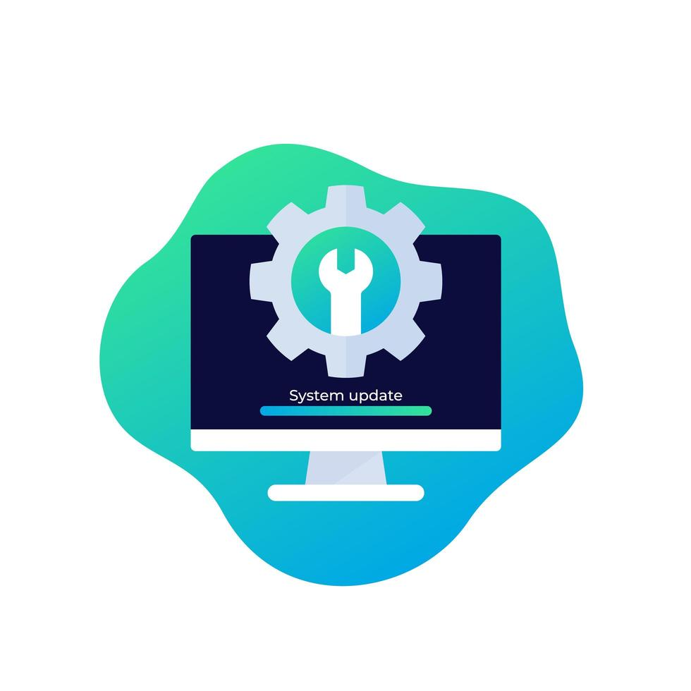 icône de mise à jour du système avec ordinateur vecteur