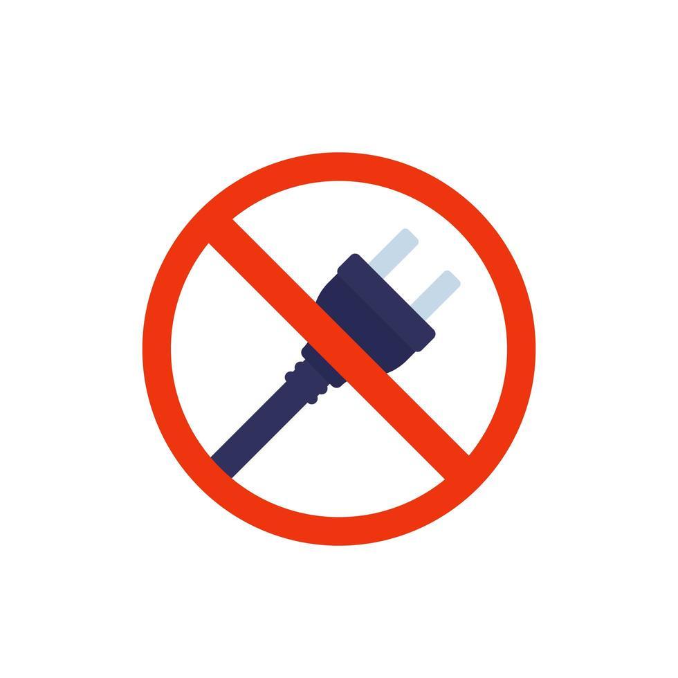 prise électrique, icône de ne pas connecter vecteur