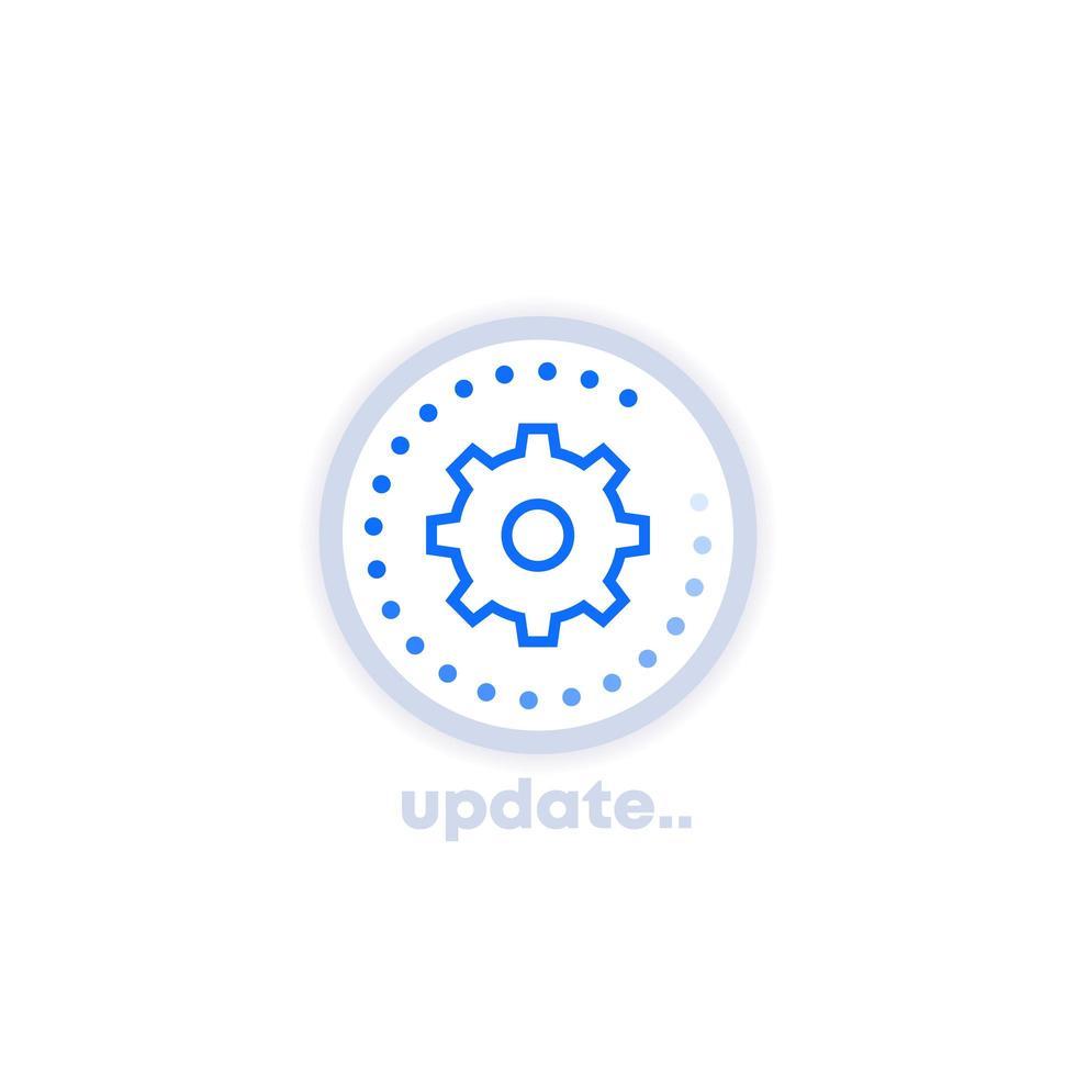 icône de mise à jour avec engrenage vecteur