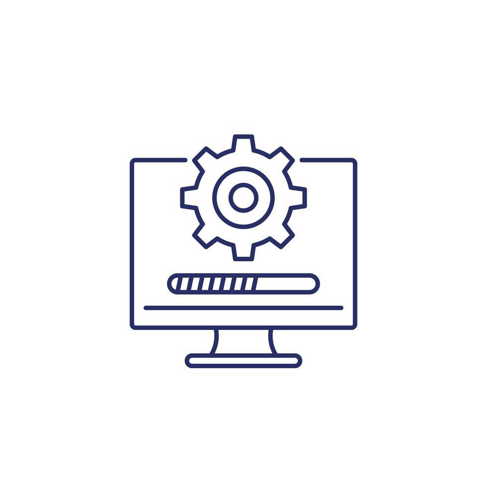 mise à jour, icône de ligne de logiciel sur blanc vecteur