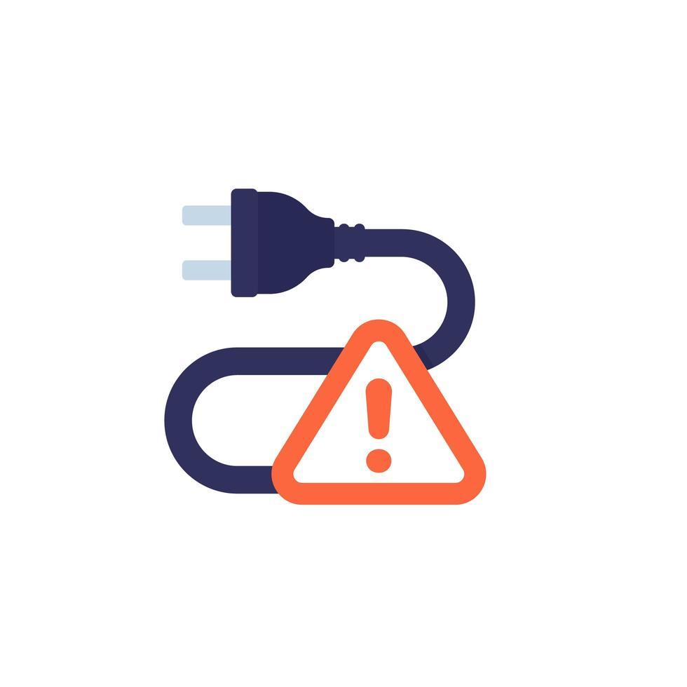 prise électrique et icône de panneau d'avertissement sur blanc vecteur