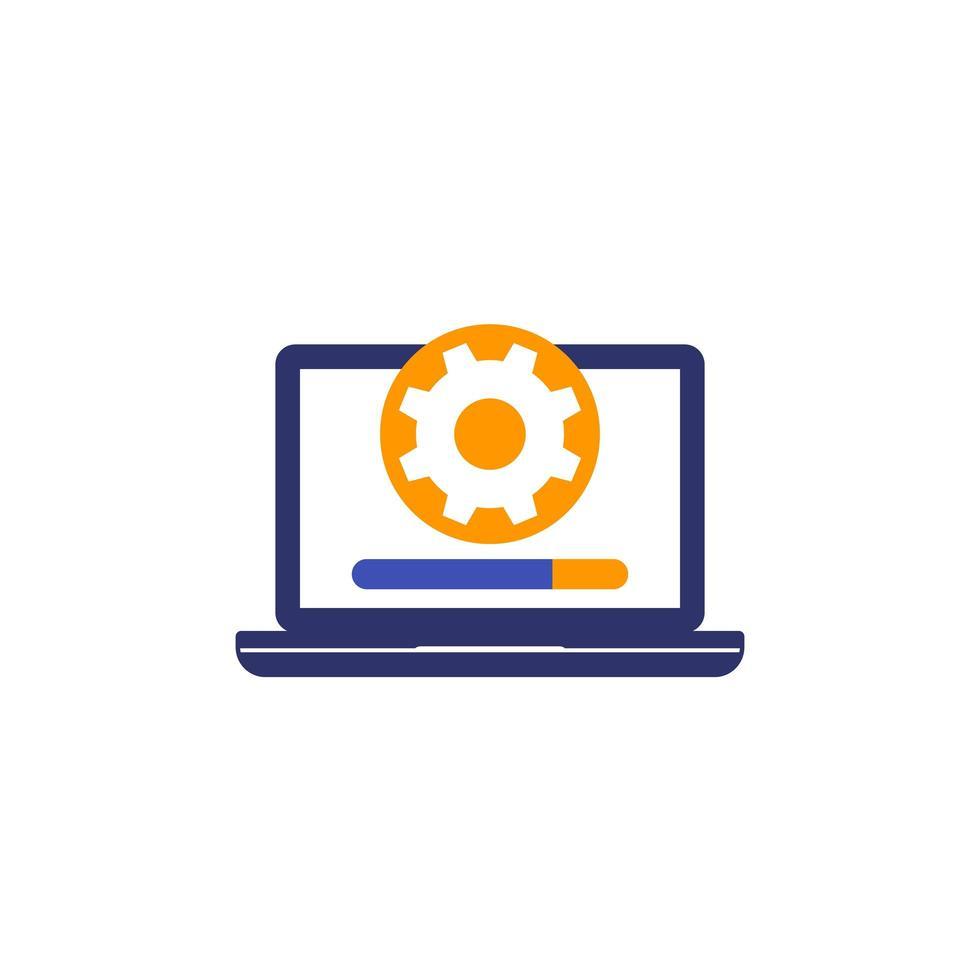 mise à jour, icône de mise à niveau du logiciel avec ordinateur portable vecteur