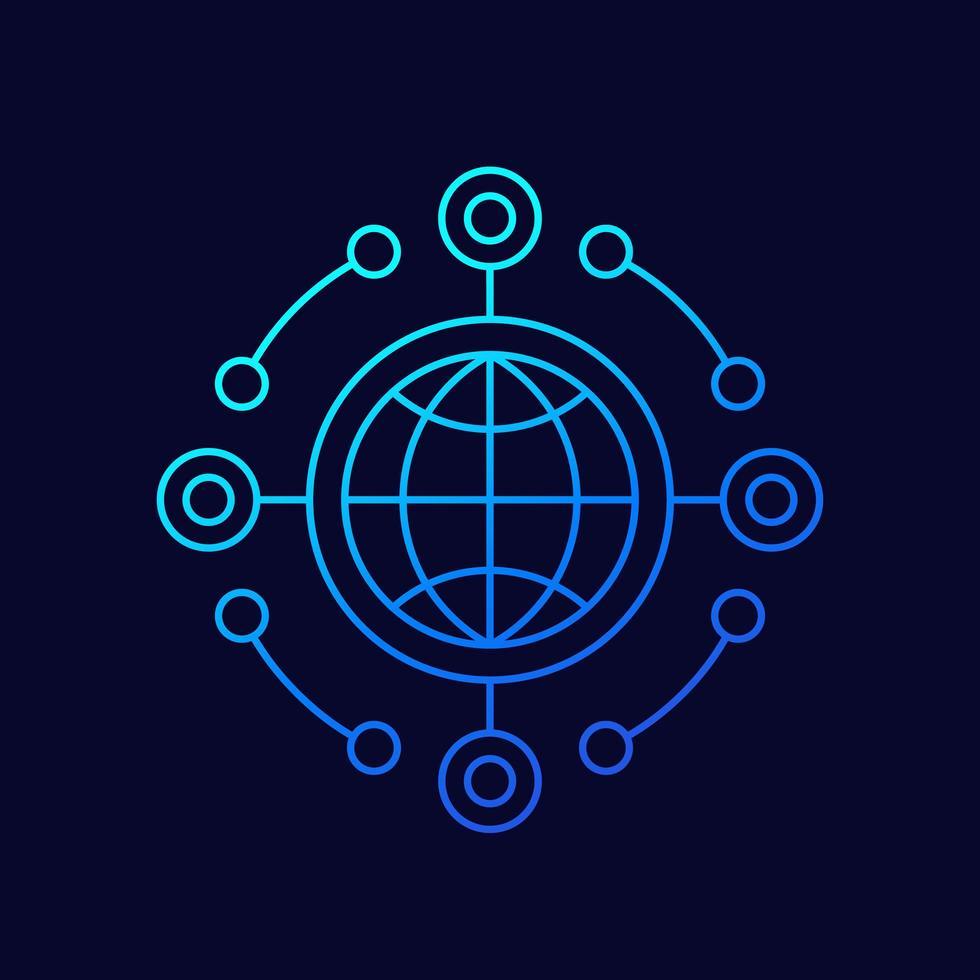 icône de ligne api réseau vecteur