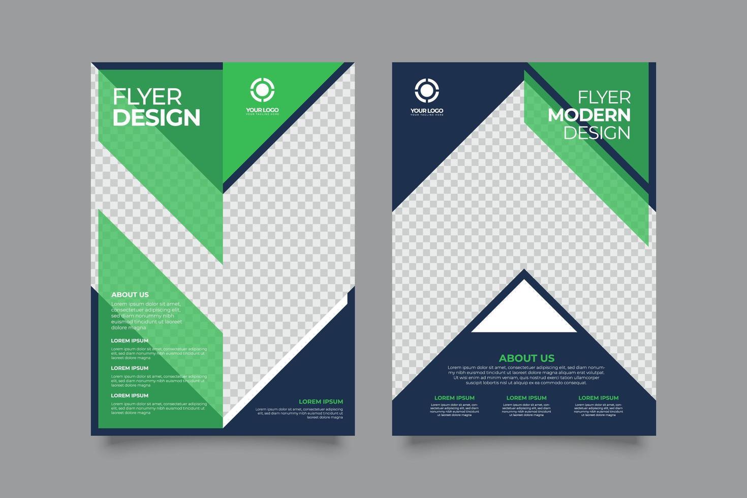 modèle de flyer entreprise moderne créative verte et bleue vecteur