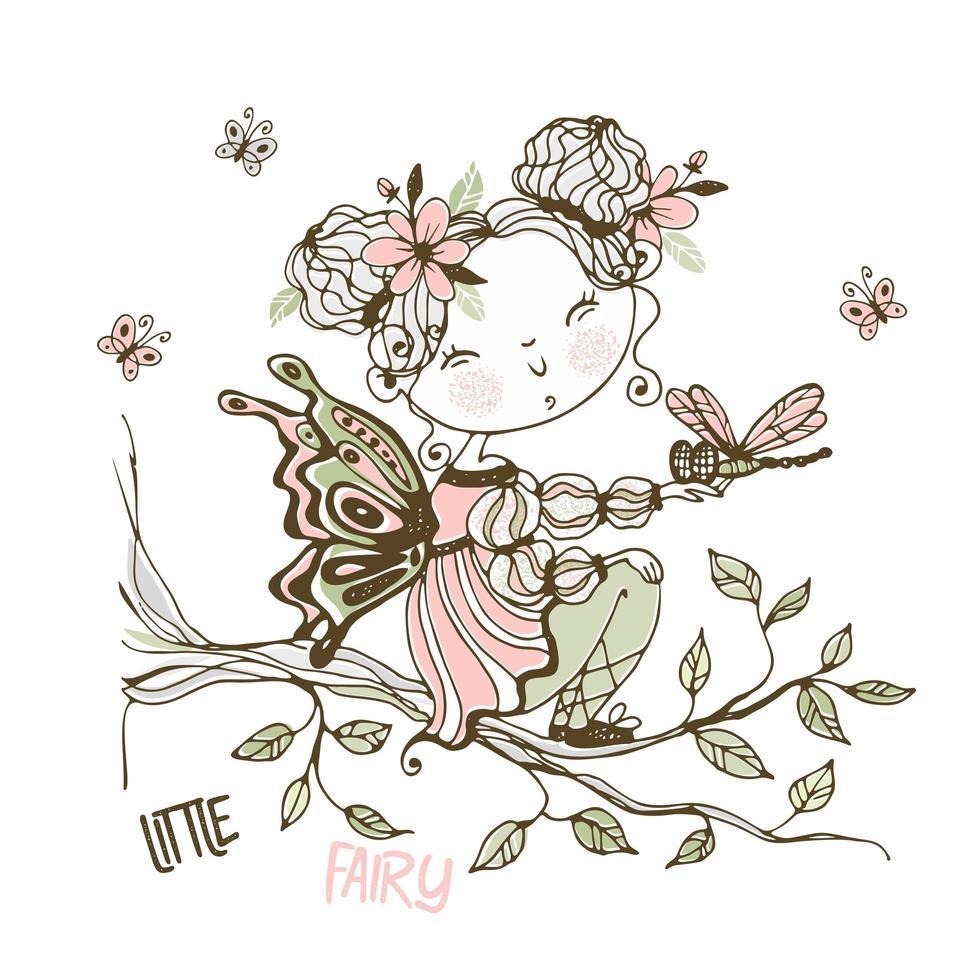 une jolie petite fée avec une libellule vecteur