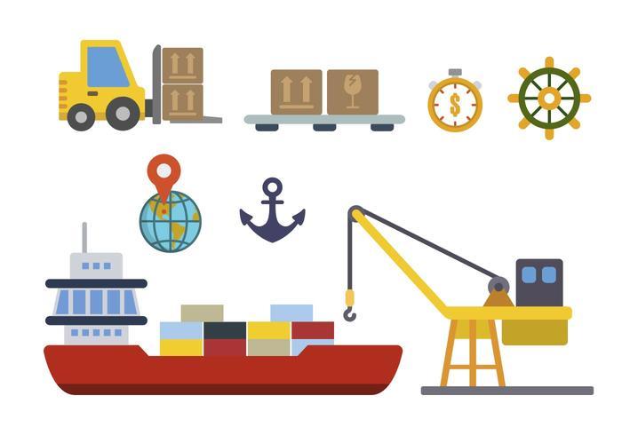 Vecteurs plats portuaires vecteur