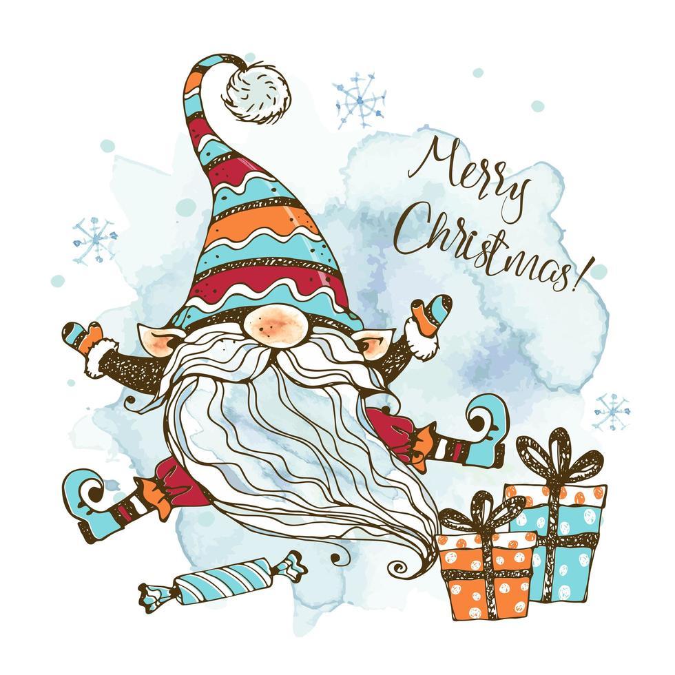 carte de Noël avec joli gnome nordique avec des cadeaux. vecteur