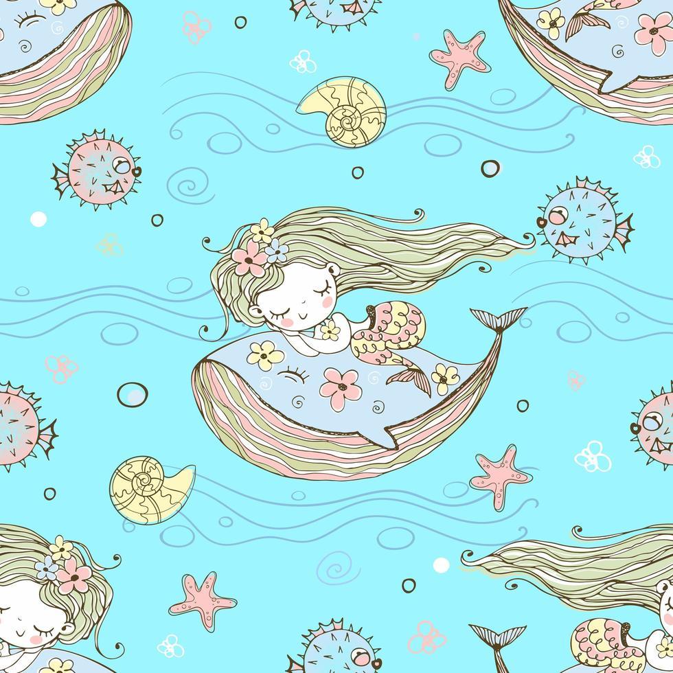 mignonne petite sirène dormant sur une baleine. vecteur