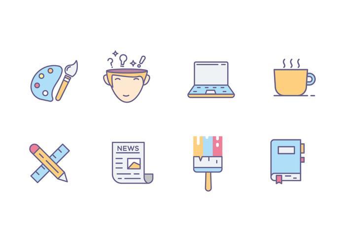 Icônes de l'esprit créatif vecteur
