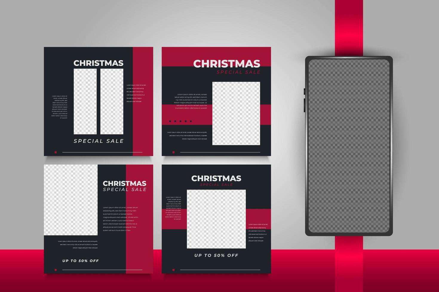 modèles de publication de médias sociaux de Noël pour la publicité ou la promotion vecteur