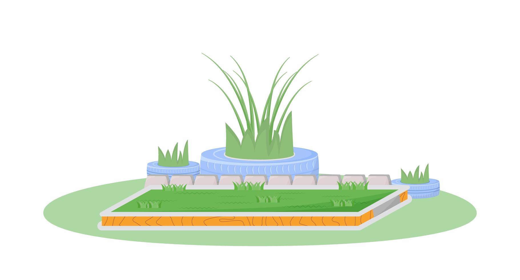 scène plate de jardin vecteur