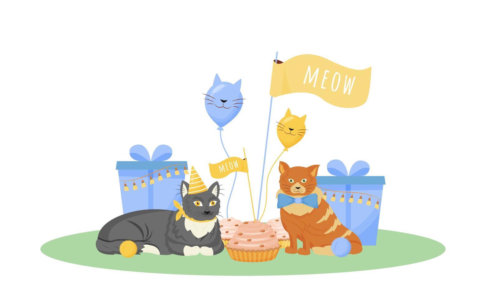 fête d'anniversaire de chat vecteur