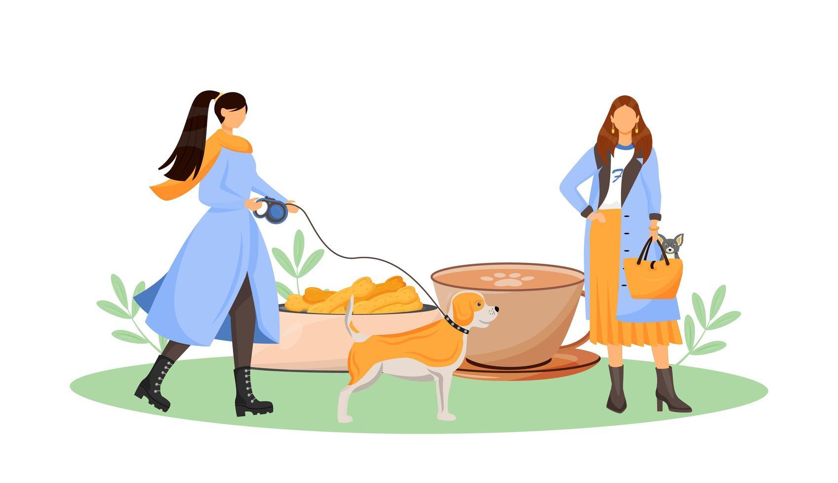 propriétaire de chien femelle au café vecteur