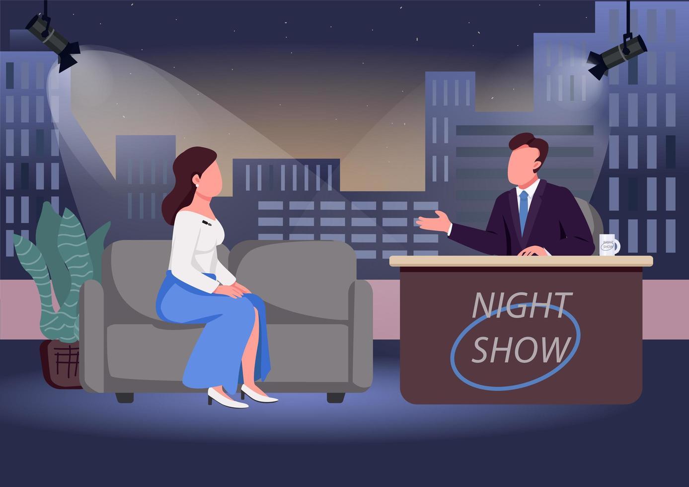 interview de spectacle de nuit vecteur