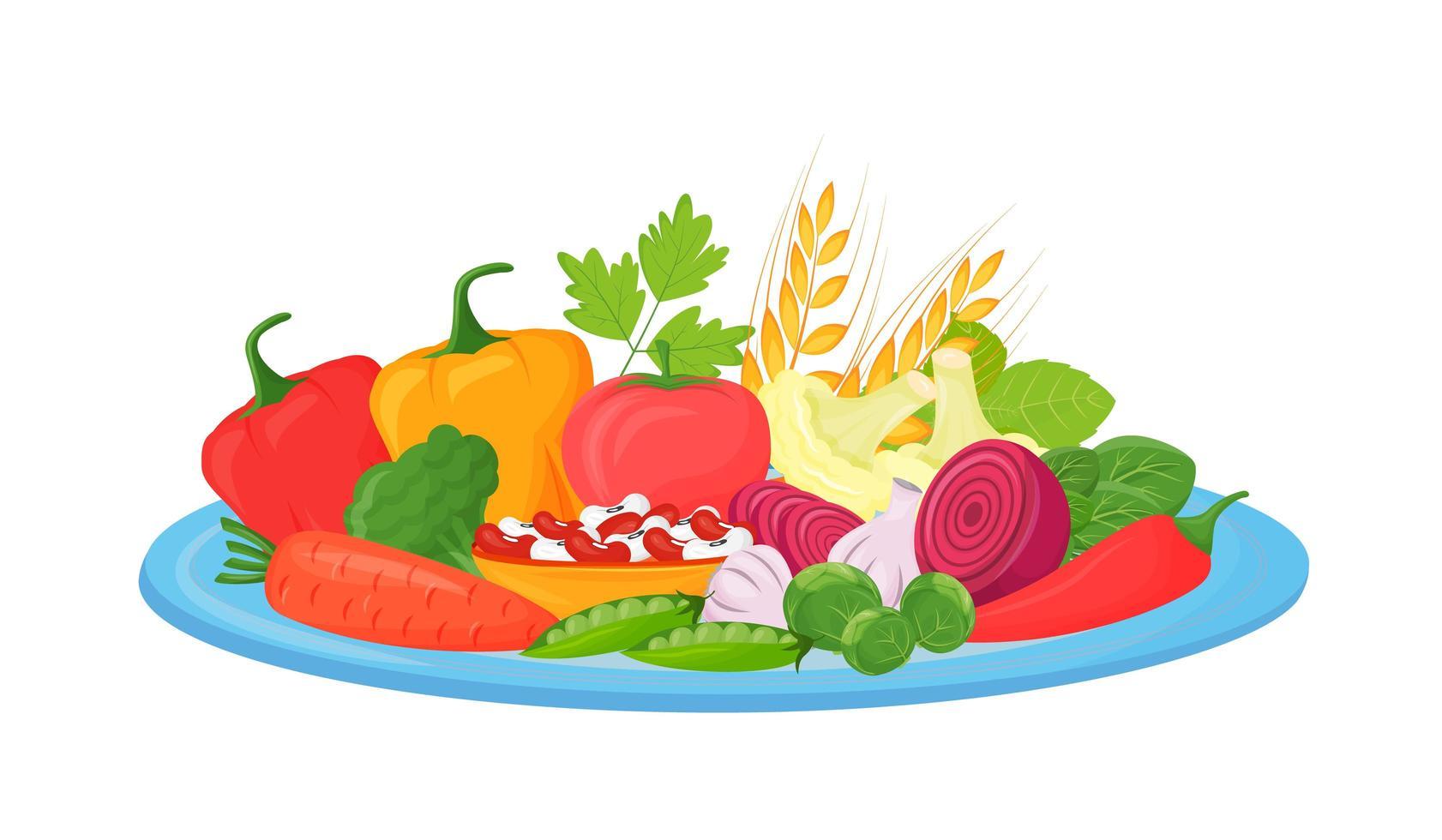 légumes crus sur assiette vecteur