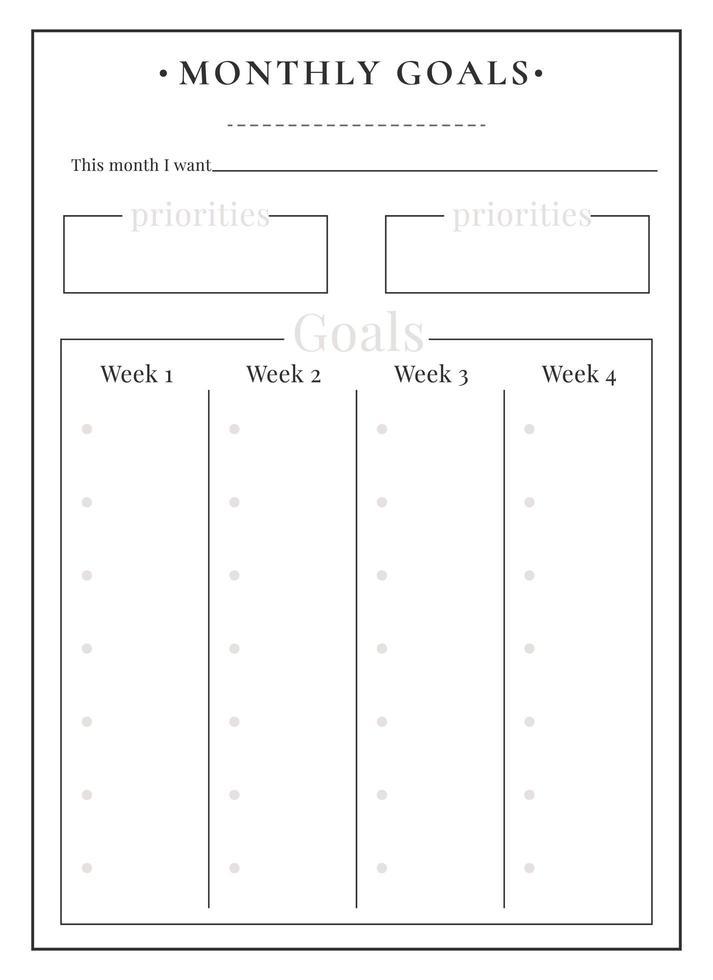 conception de pages de planificateur minimaliste de tâches mensuelles vecteur