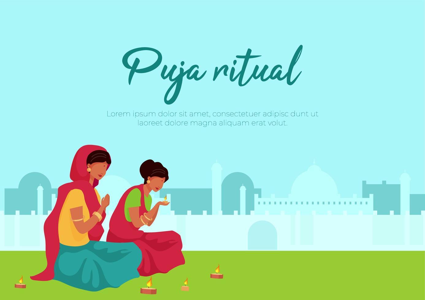 affiche rituelle puja vecteur
