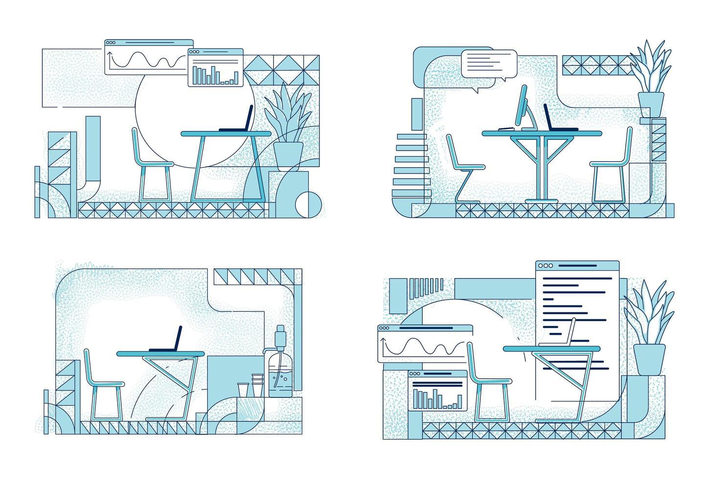 design d'intérieur de bureau moderne vecteur