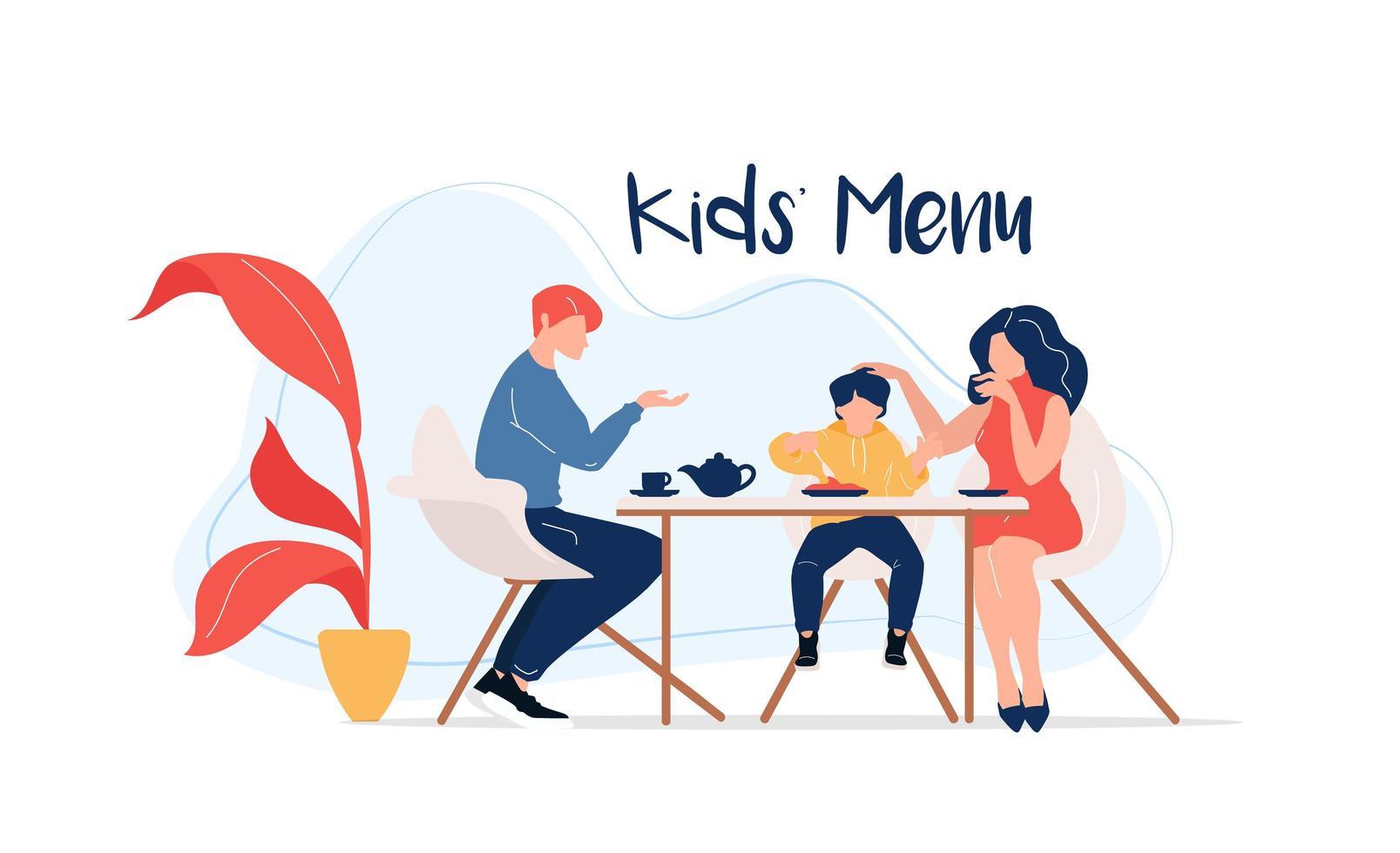 menu enfants à table vecteur