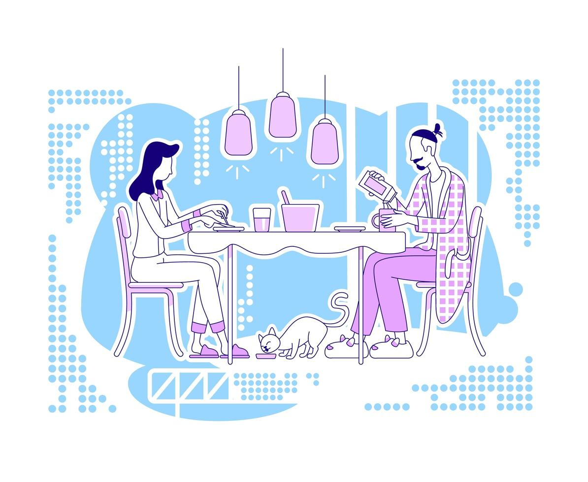 cadre de repas en famille vecteur