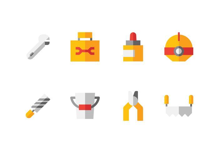 Fait à la main, bricolage, outils de bricolage Icon Set vecteur