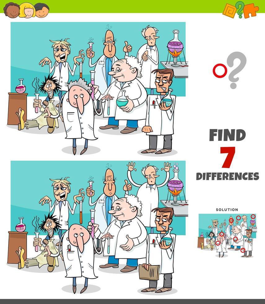 jeu de différences avec un groupe de scientifiques de dessins animés vecteur