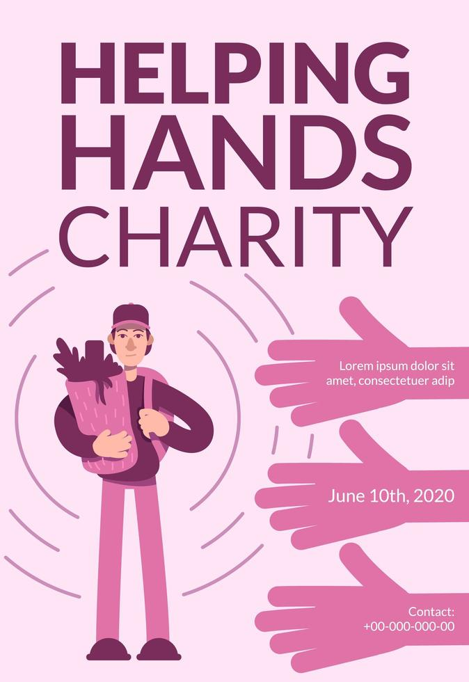 affiche de charité aidant les mains vecteur