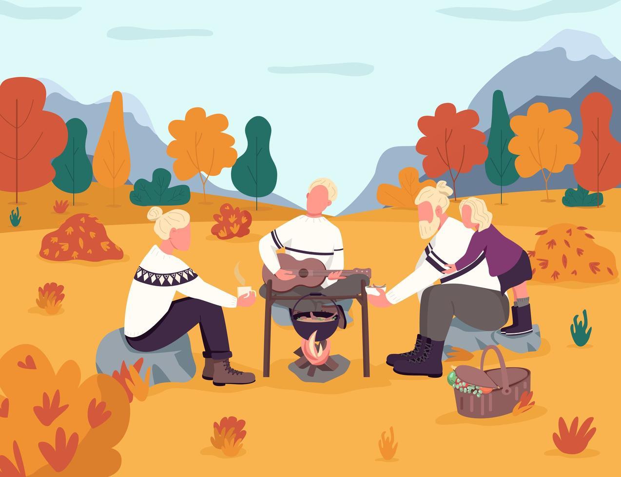 pique-nique dans la campagne d'automne vecteur