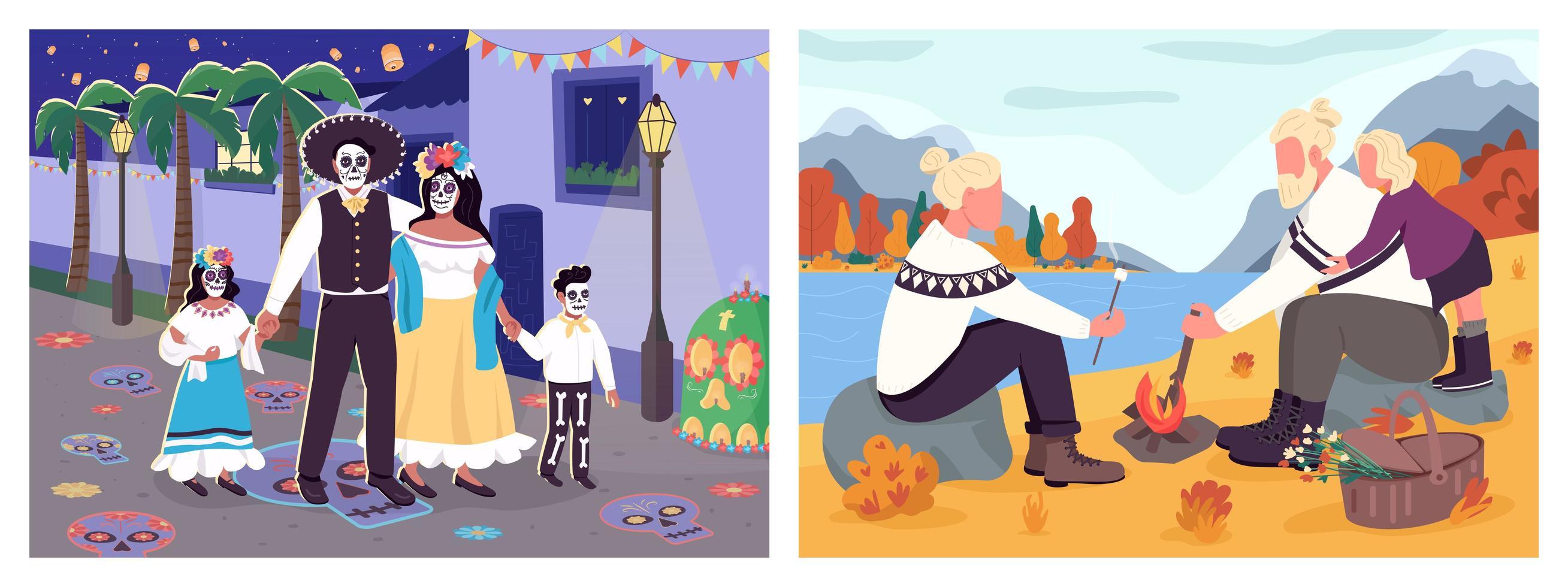 activités d'automne en famille vecteur