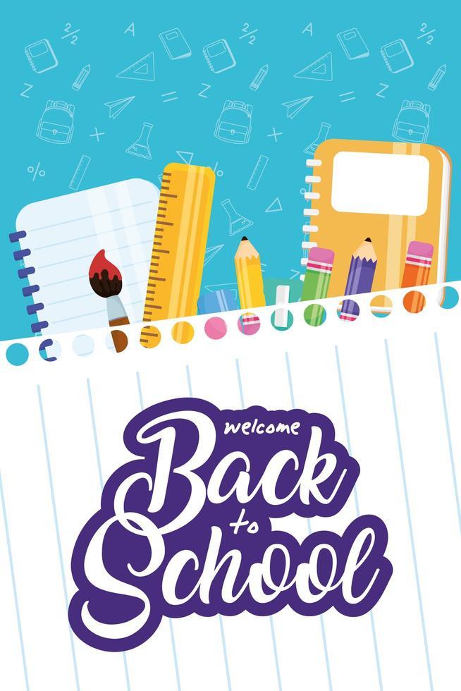 affiche de retour à l & # 39; école avec du matériel scolaire vecteur