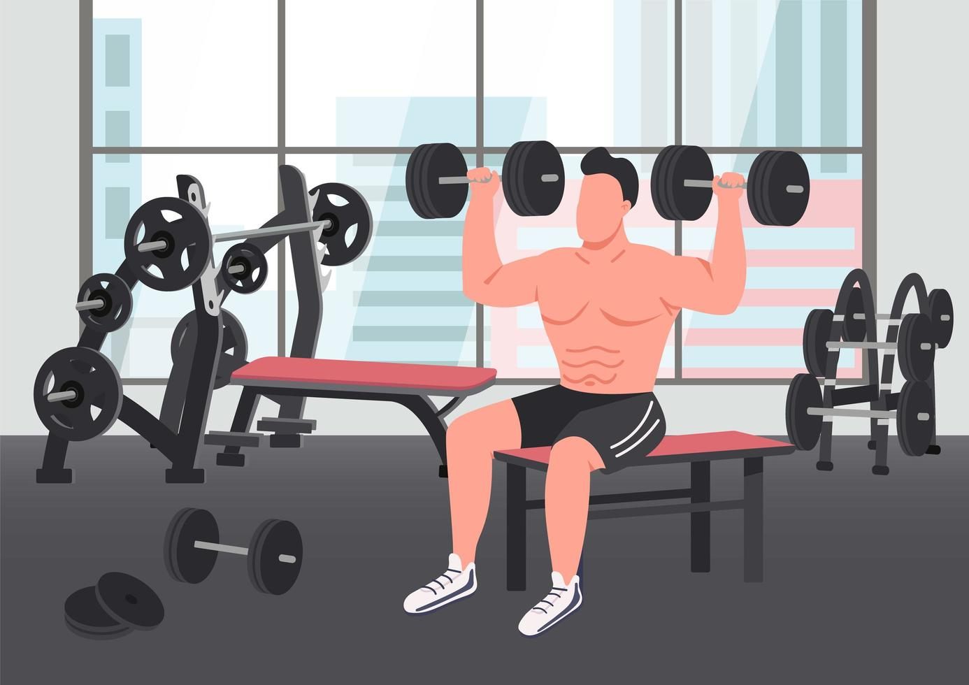scène d'exercice de musculation vecteur
