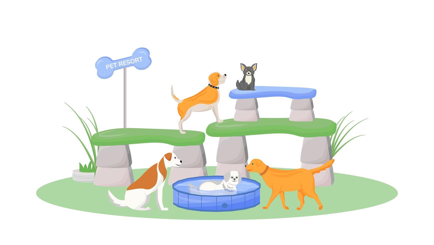 station pour animaux de compagnie premium vecteur