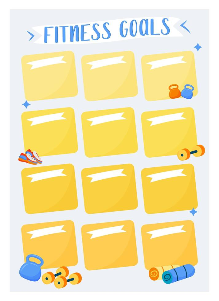 conception de page de planificateur créatif d'objectifs de remise en forme vecteur