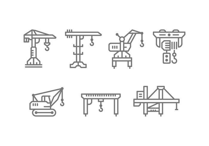 Levage, grue, machine, treuil, icônes vecteur