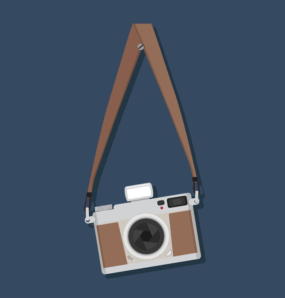 appareil photo vintage de style plat suspendu vecteur