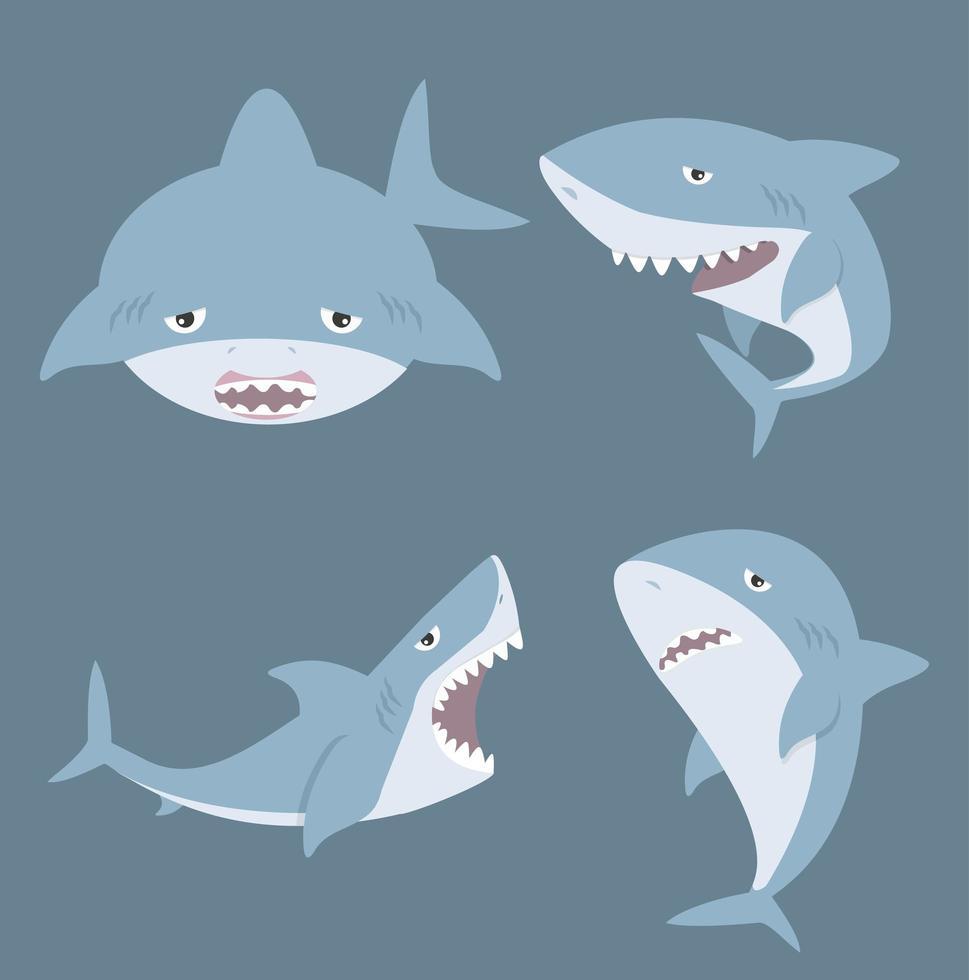 ensemble de dessin animé mignon requin vecteur