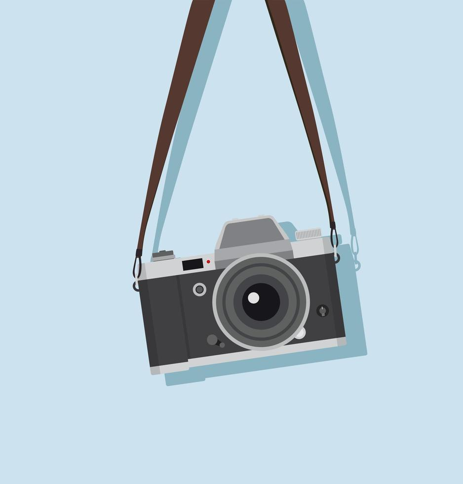 appareil photo vintage suspendu dans un style plat vecteur