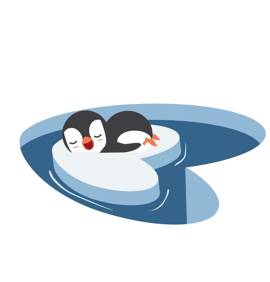 pingouin dort sur un morceau d'iceberg vecteur