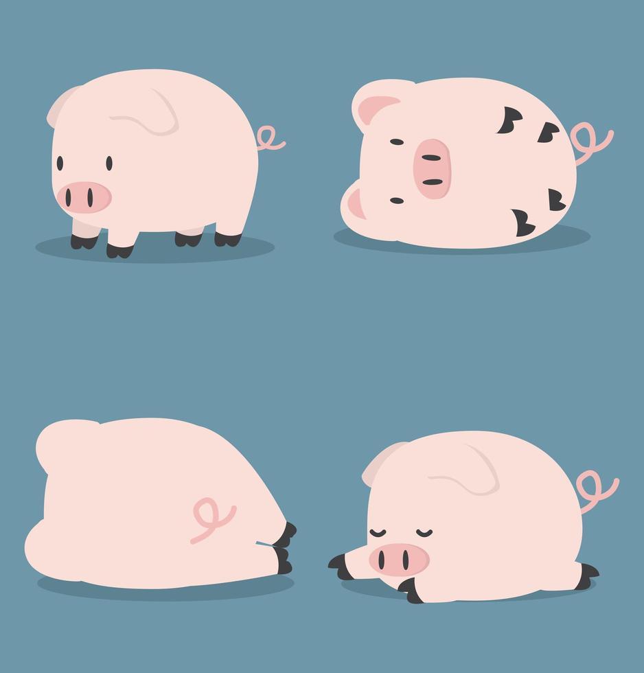 ensemble de mignon petit cochon vecteur
