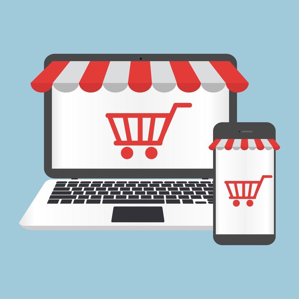 concept en ligne de boutique ordinateur portable et smartphone vecteur