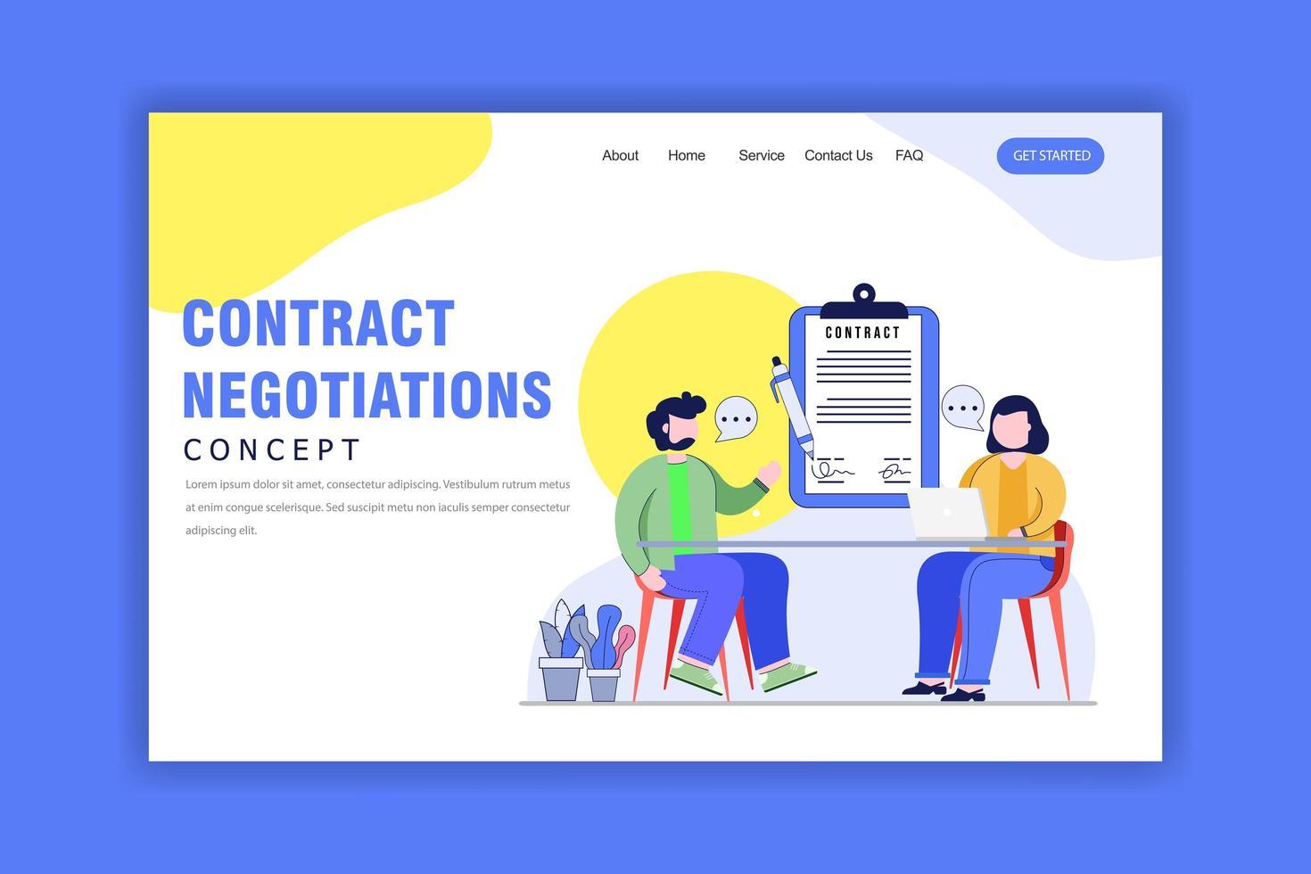 concept de design plat de la page de destination des négociations de contrat vecteur