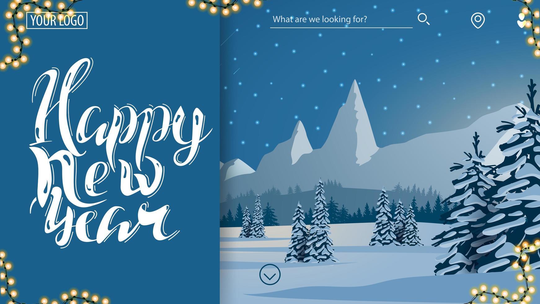 bonne année, carte postale bleue pour site Web vecteur