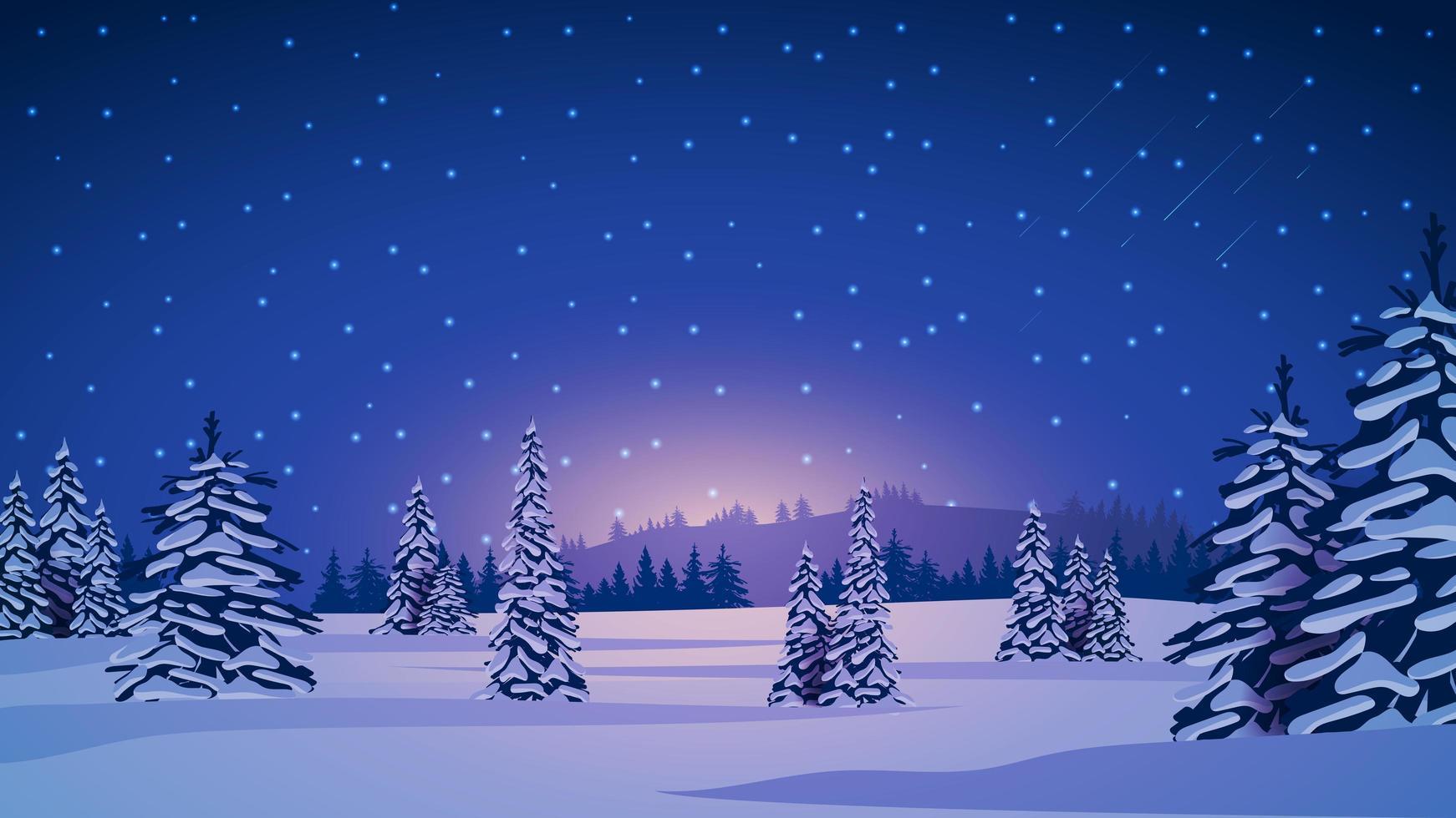 paysage d'hiver avec des pins couverts de neige vecteur